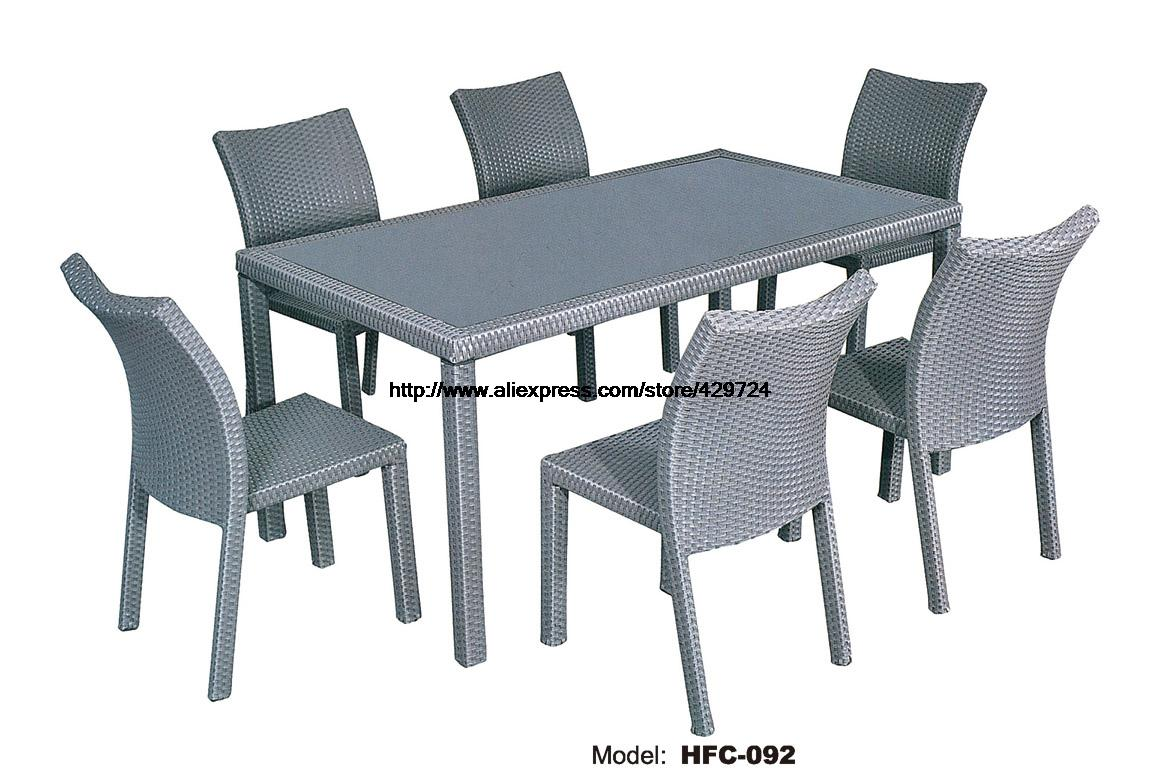 Outdoor table and chairs - Classic Leisure Outdoor Furniture Picnic Table 6 Chairs Rattan Holiday Garden Balcony Chair Table Set From