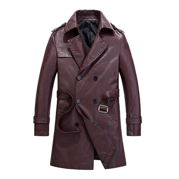 New Men's Leather Coat High Quality Washed Faux Leather Long Trench Coat Double Breasted Slim PU Overcoats with Belt