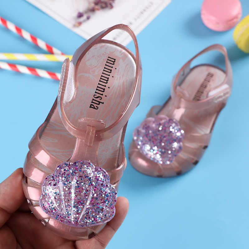... Mini Melissa Brazil Girl Jelly shell Sandals 2018 New Children Sandals  Shoes Water Shoes Beach Sandals 685efadd1b78