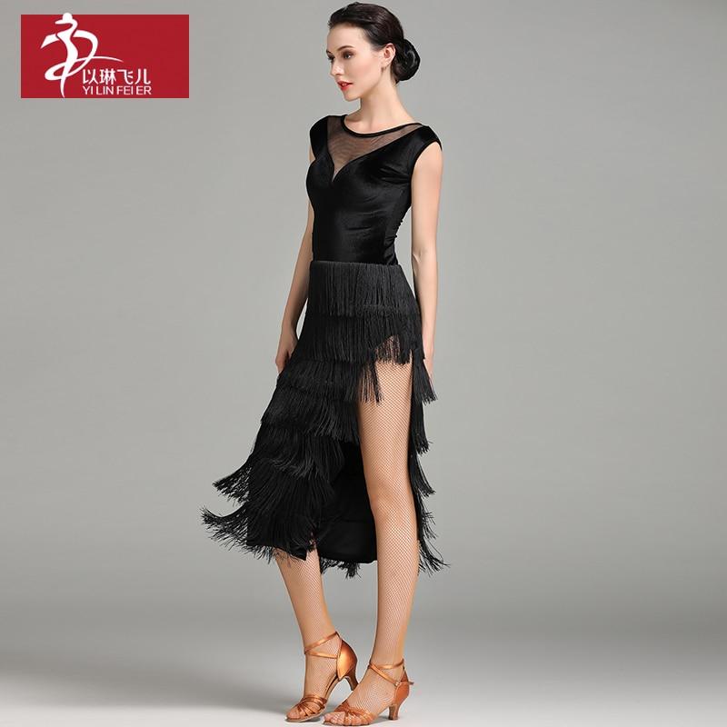 New Direct Selling Woman Velvet Tango Latin Dance dress Salsa Dancewear Rumba Chacha Costume