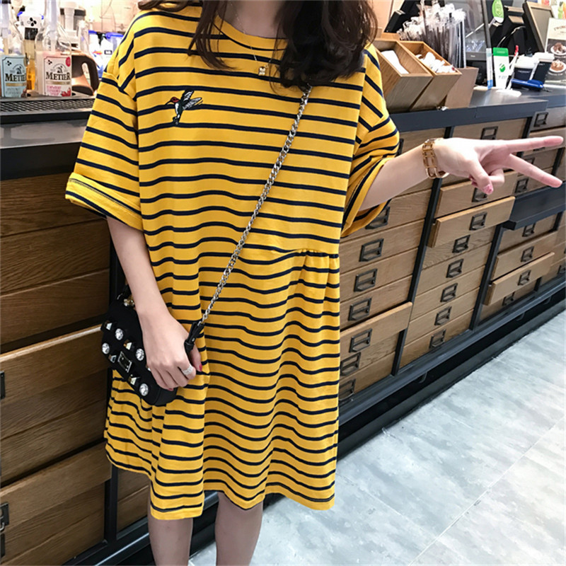 Yellow Stripe Pregnant Women Dress 2018 New Blouse Loose Short Sleeve Summer Dresses In Large Sizes Casual Pregnancy Dress