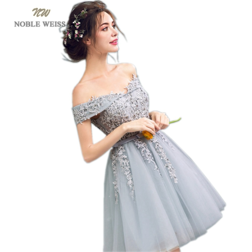 NOBLE WEISS Mini Appliques Prom Dress 2019 Customized Fashion Beading Boat Neck Gray Tulle Party Gown Dresses
