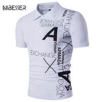 NIBESSER Brand Fashion Letter Printed T Shirts Men Short Sleeve Turn Dwon Collar Tee Shirts Trendy