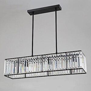 Image 5 - Jmmxiuz 3 אור אמריקאי בציר רטרו קריסטל נברשת תאורת חדר אוכל מסעדה תליית ברזל מוט תליון מנורה
