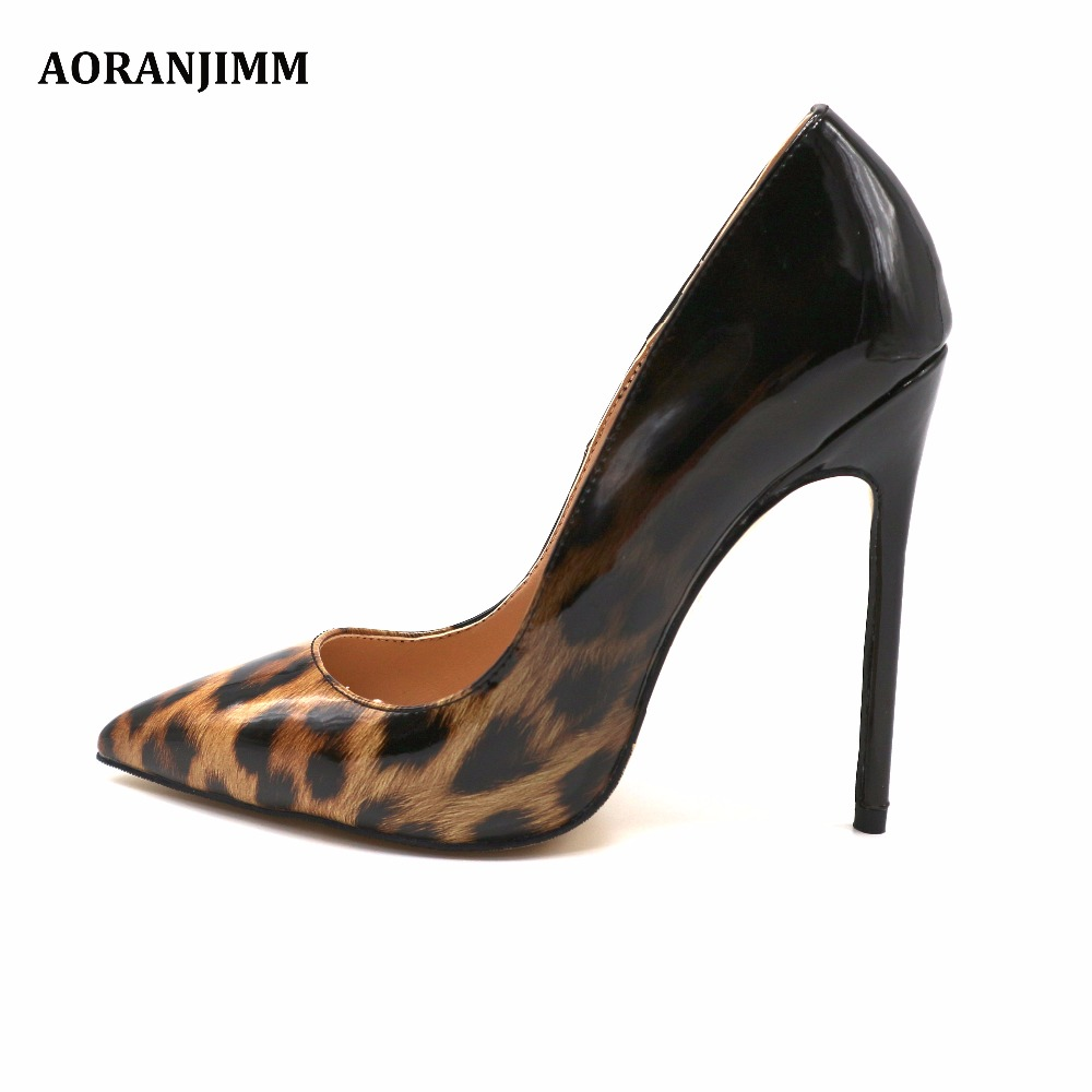 Free shipping Real pic pointed toe leopard to black patent leather woman lady female adult high