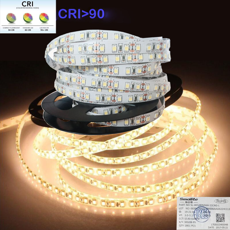 2018 New High CRI+90 2835 12V 24V 2835 LED Lights Strip  For Home 8mm Width  120LED/m 0.2W/LED 45W/5m/lot No-Waterproof