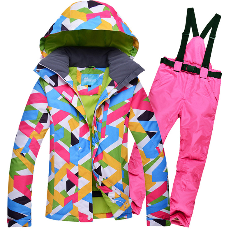 Brand Ski Suit Women Windproof Breathable Waterproof Women Snow Jacket+Pants Warm Winter Skiing Suit Clothes Set 2016 new skiing jackets and pants winter women snow suit sets windproof waterproof breathable women skiing suit warm