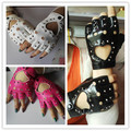 Women semi-finger gloves Sexy cutout dance jazz  punk personality rivets sexy fingerless gloves fashion driving gloves 6 colors