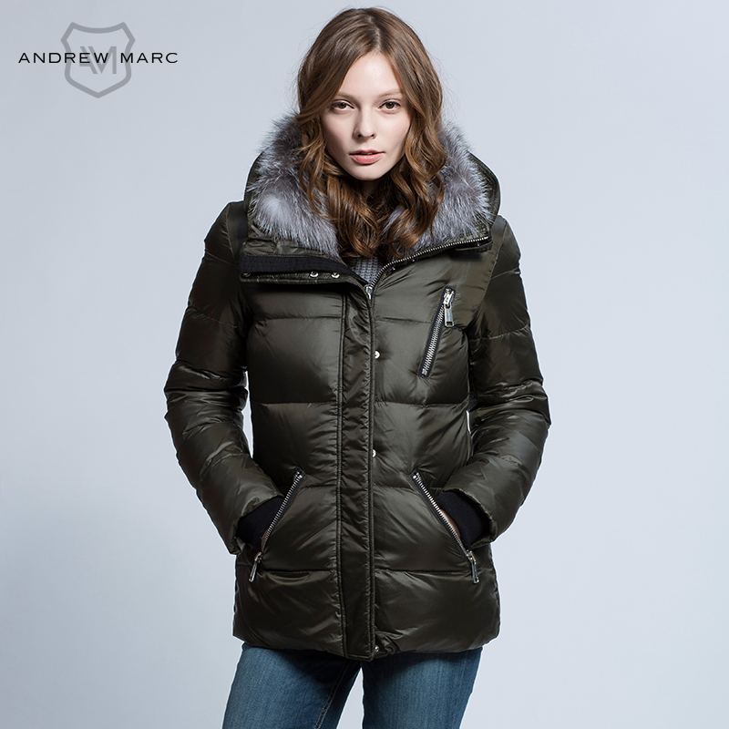 72832e5f4fb ANDREW MARC 2016 Women Duck Down Jacket Thicken Warmth Snow Winter Hooded  Coat Outwear Woman Down Coat TW6AE217