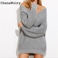 Simplee Casual Sexy Slim Fit Autumn Winter Fashion Women Long Sleeve V Neck Knitted Sweater Knitwear