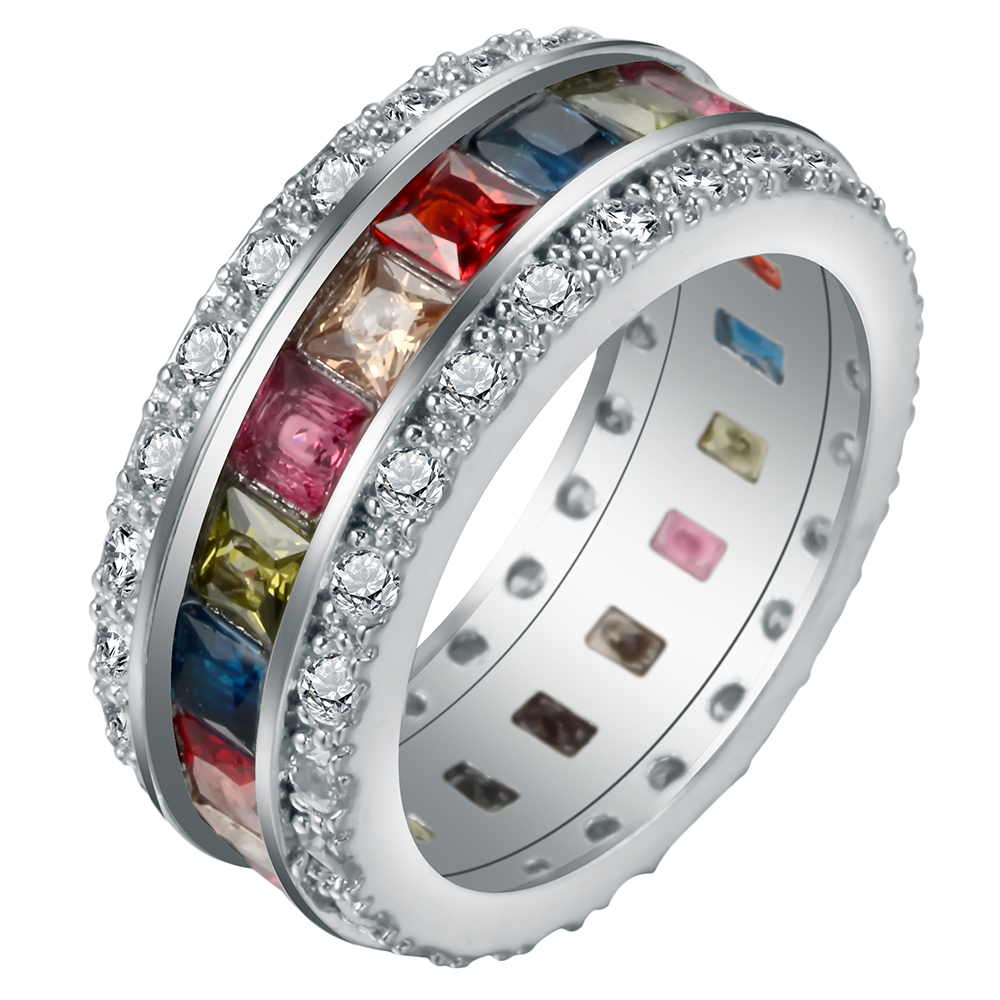 UFOORO Beautiful silver finger rings Pave Multi color Square Shape Zircon Wedding Engagement Ring For Women love Gift jewellery