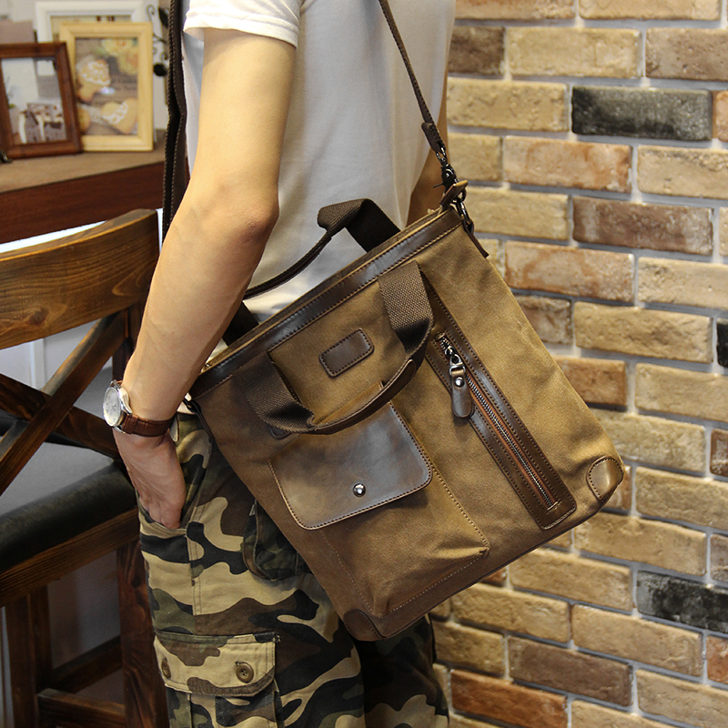 Men's bags Brand Vintage Men's Messenger Bags Canvas Shoulder HandBag Fashion Men Business Crossbody Bag Casual Travel Handbag 18