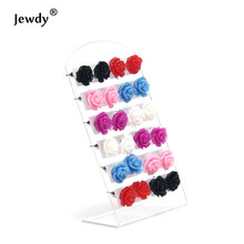 Sunshine 6 colors 10mm rose flowers 12 pairs lot card stud earrings 2016 fashion for girls gifts women cute jewelry