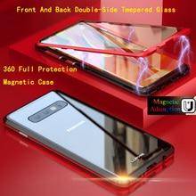 Магнитная флип металла чехол для телефона для samsung Galaxy S9 S10 плюс Lite крышка спереди Стекло оболочки Galaxy Note 9 S10e магнит Капа Fundas