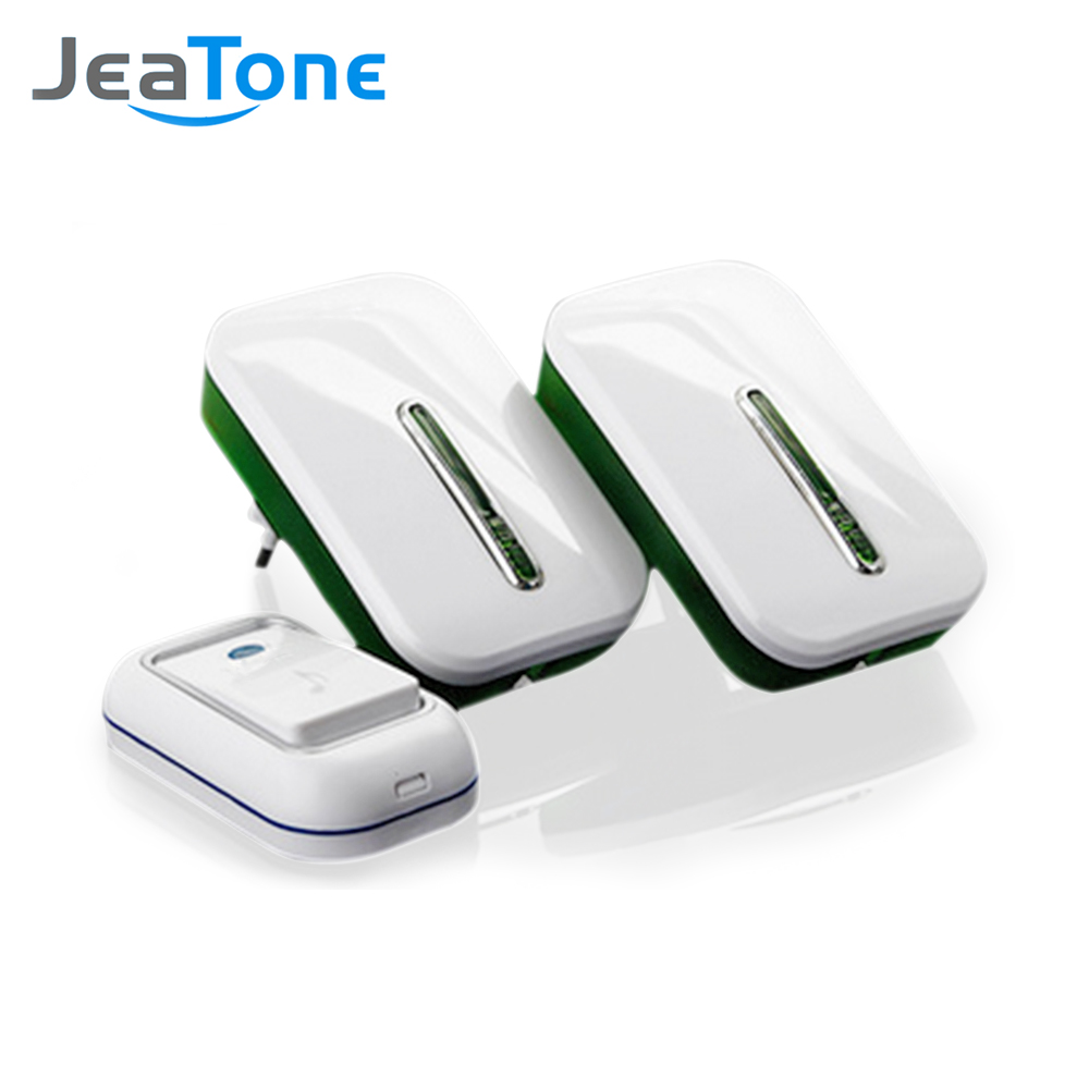 JeaTone Wireless Plug-In Door Bell For Home With 36 Chimes 1 Outdoor Transmitter + 2 Indoor Receiver Quality Assurance Two Years wireless home security door bell call button access control with 1pcs transmitter launcher 1pcs receiver waterproof f3310b