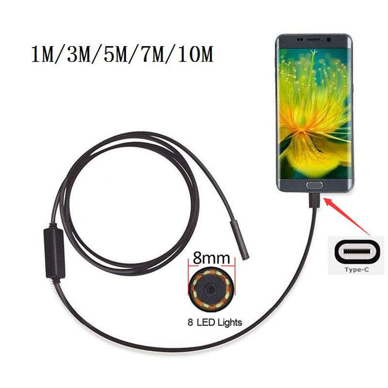 8mm 2MP 8LED 1/3/5/7 M Android Phone USB Type C USB-C Endoscope mini camera Waterproof Borescope Snake Inspection Video Camera