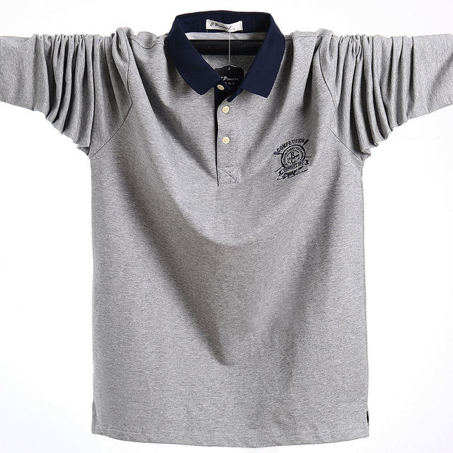 Business Shirt Men Polo Solid Autumn Winter Long Sleeve Polo Shirt Men Plus Size Camiseta Polo