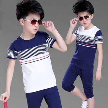 2018 Boys Summer Clothing Set Fashion Casual Sports Short Sleeve Cotton Children Clothes Sets Color Navy / White 120-160 - DISCOUNT ITEM  56% OFF All Category