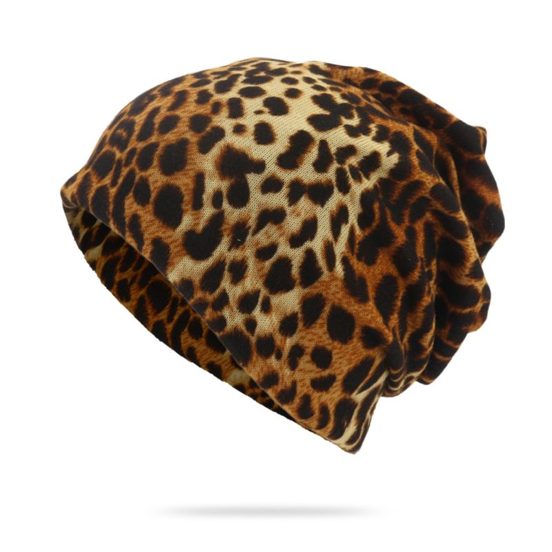 NewFashion Women Autumn Spring Leopard Hat Caps Female   Beanies     Skullies   Ladies Knitted Polyester Gorros Warm Wool Scarf For Girl
