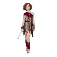 Indian Primitive Man Show Native Leopard Print Dress Savage Costume Carnival