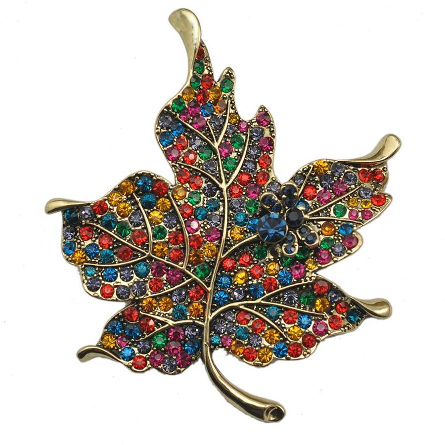 Vintage Rhinestone Maple Leaf Large Brooches Pins Fashion font b Women b font Corsage Wedding font