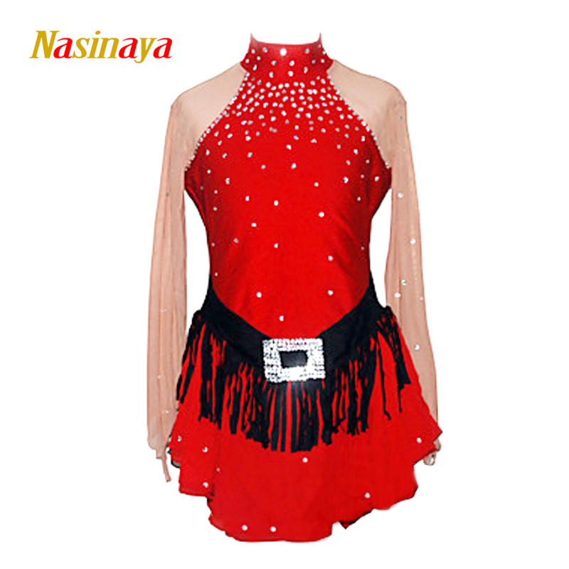 Customized Costume Ice Figure Skating Gymnastics Dress Competition Adult Child Girl Skirt Performance Red Rhinestone Black Waist