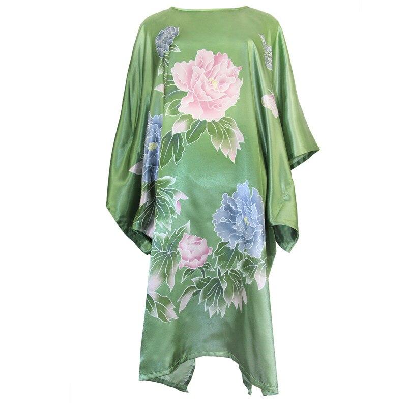 Green Plus Size Nightdress Robe Womens Rayon Sleepwear Print Flower Bathrobe Kaftan Round Neck Casual Loose Night Dress