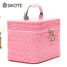 SIKOTE Trunk Pink Women Cosmetic Bag Compact Travel Package Waterproof Make Up Bag Cosmetic Case Trousse Maquillage Femme