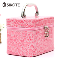 SIKOTE Trunk Pink Women Cosmetic Bag Compact Travel Package Waterproof Make Up Bag Cosmetic Case Trousse
