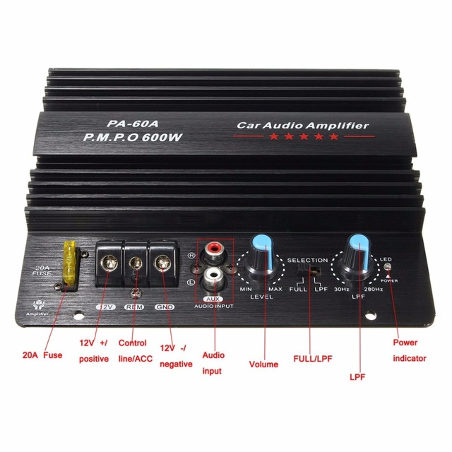 Best Price 12V Mono 600W High Power Car Audio Amplifier PA-60A Fashion Wire Drawing Powerful Bass Subwoofers Amplifier With 20A Fuse
