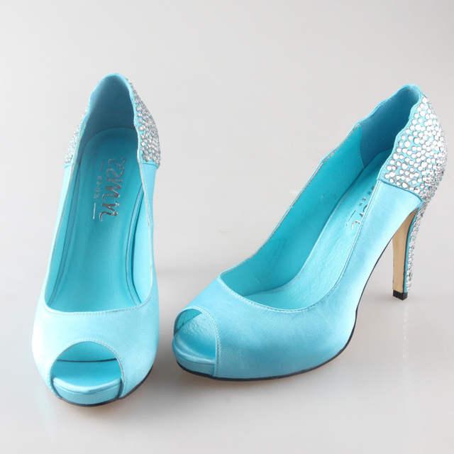 db1c90f224 US $90.25 5% OFF|Handmade aqua blue turquoise rhinestone heels open peep  toe woman wedding party prom shoes bridal dress shoes lake blue shoes-in ...