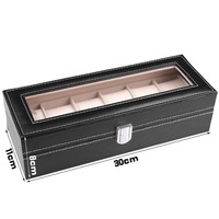New Leather Watch Box Classic 6 Grids Luxury Refinement Slots Boxes Gift Case Jewelry Display Storage