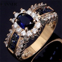 CANNER Purple Crystal Wedding Ring Yellow Gold Filled Women Jewelry Gift Wholesale Drop shipping R4