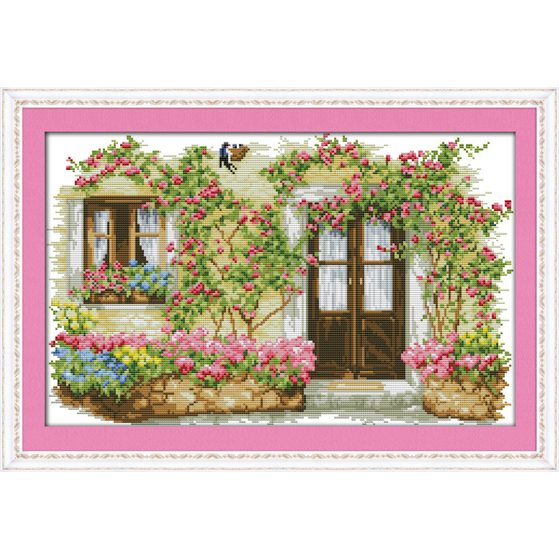 Everlasting love Rose cabin Chinese cross stitch kits Ecological cotton stamped printed 11CT DIY New year Christmas decorations