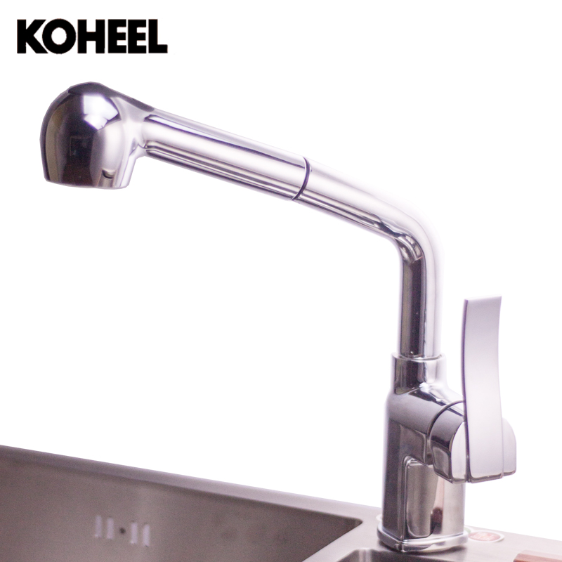 Kitchen Faucets Single Handle Pull Down Spring Spray Kitchen Sink Vessel Faucet Two Spout Swivel Chrome