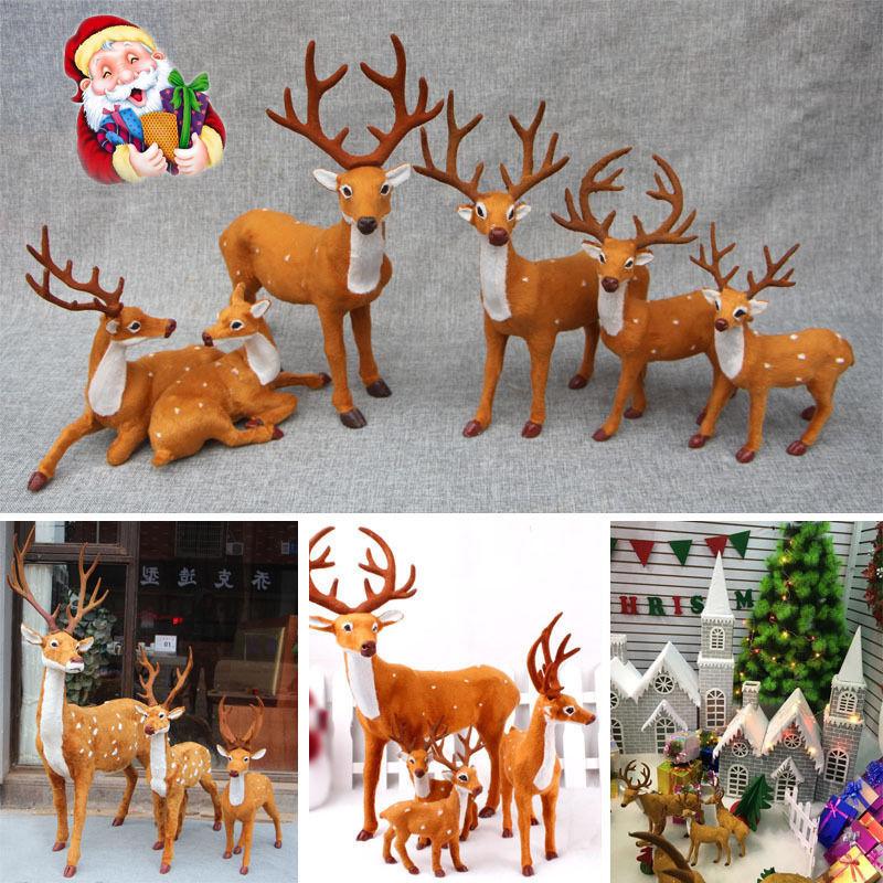 2017 new xmas christmas holiday party decor xmas reindeer for Home decor reindeer christmas figurine set