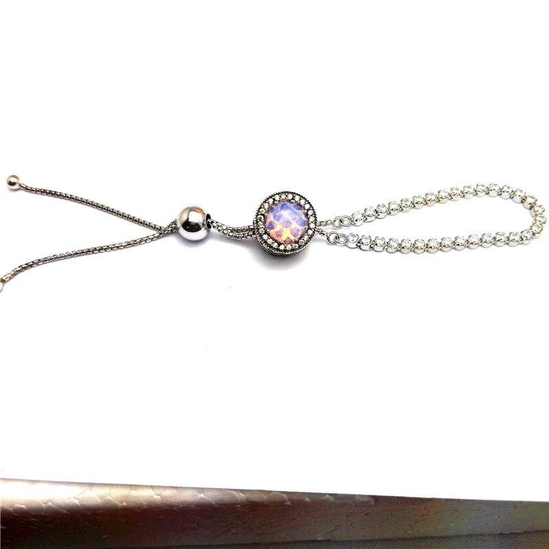 Ensemble de bijoux pour les Femmes Fille Cadeau Strand Bracelet Rose Perles 100% 925 En Argent Sterling Zircon Clair Fine Bijoux PJS437