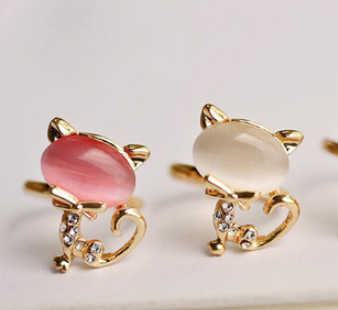 R183 2019 New!! HOT!!! Delicate Korean Style Cute Cat Opal Ring Open Ring For Women Wholesale 17mm size