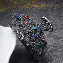 hot deal buy charm ancient gun black alloy rhinestone crystal vintage hair claws hair ornaments high quality crab clip wedding hair jewelry