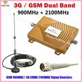 3G GSM Repeater Dual Band GSM 900 GSM 2100MHz Cell Mobile Phone Signal Booster GSM Repetidor de sinal celular Booster Full Sets