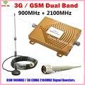 3G GSM Repetidor de Banda Dupla GSM 900 GSM 2100 MHz Móvel Celular telefone Signal Booster GSM Repetidor de sinal celular Impulsionador Conjuntos Completos