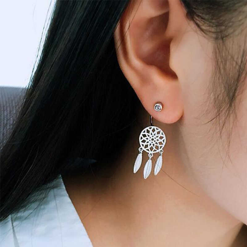 Yiustar Fine Jewelry Dreamcatcher Earrings Origami Stud Earrings For Women Enthic Feather Pendant Wedding Gifts