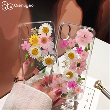 Qianliyao Real Dry Flower Phone Cases for iPhone 7 Soft Case X XS XR Max 6 6s 8 plus 11 Pro Handmade cover