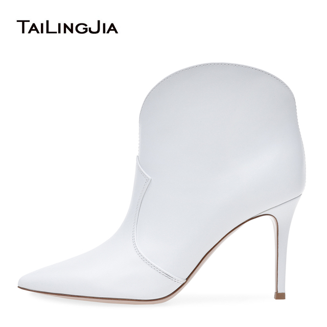 Women Pointy Toe White Ankle Boots Stylish High Heel Slip On Booties