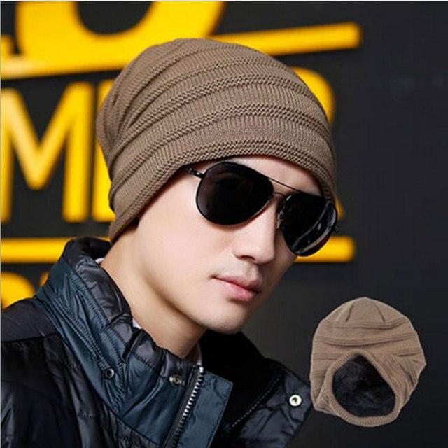 Men's Winter Hat Thick Warm Knitted Winter Mens Cashmere Hip-Hop Beanie Hat Outdoor Sport Ski Caps WL-055