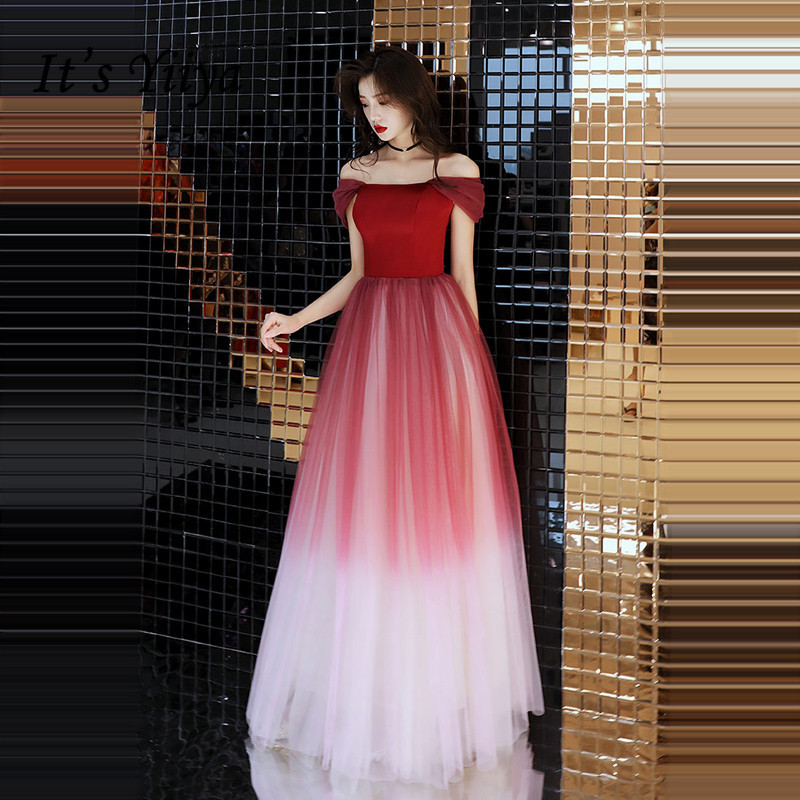 It's YiiYa Evening Dress 2018 Wine Red Contrast Color Boat Neck Lace Up A-line Floor-length Dinner Gowns SB007 Robe De Soiree