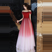 купить It's YiiYa Evening Dress 2018 Wine Red Contrast Color Boat Neck Lace Up A-line Floor-length Dinner Gowns SB007 robe de soiree по цене 3330.16 рублей