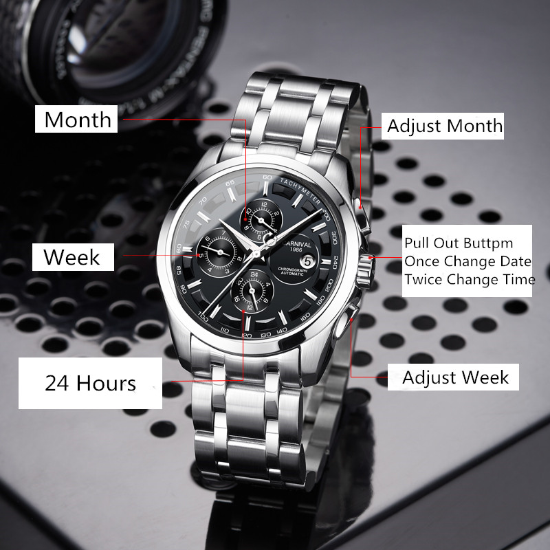 New classic watches Men Automatic Mechanical Watch Month, Week, 24 Hours,calendar Waterproof carneval Orologio reloj mecanico