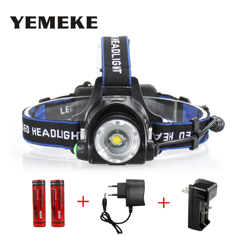 LED Headlight Cree XML-T6 Headlamp Waterproof led 2000LM rechargeable 2*18650 + Charger Head lamps 3 Modes Head light Zoomable led headlamp cree xm l t6 led 2000lm rechargeable head lamps headlights lamp lights use 18650 battery ac charger head light
