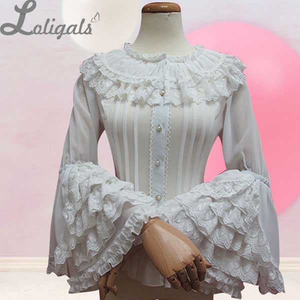 Ретро Стиль длинными расклешенными рукавами Лолита кружевная блузка Для женщин плюс Размеры шифон белая рубашка с многослойными кружевным...